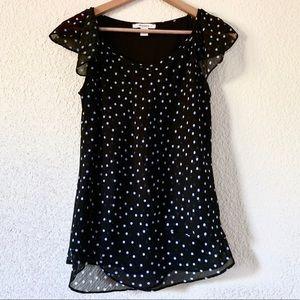 Flutter Sleeve Polka Dots Shirt